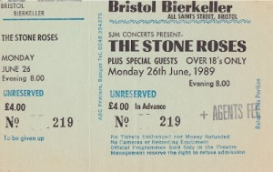 The Stone Roses - Bristol Bierkeller ticket 1989