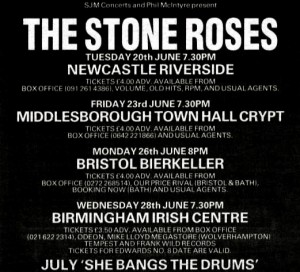 The Stone Roses summer 1989 tour advert